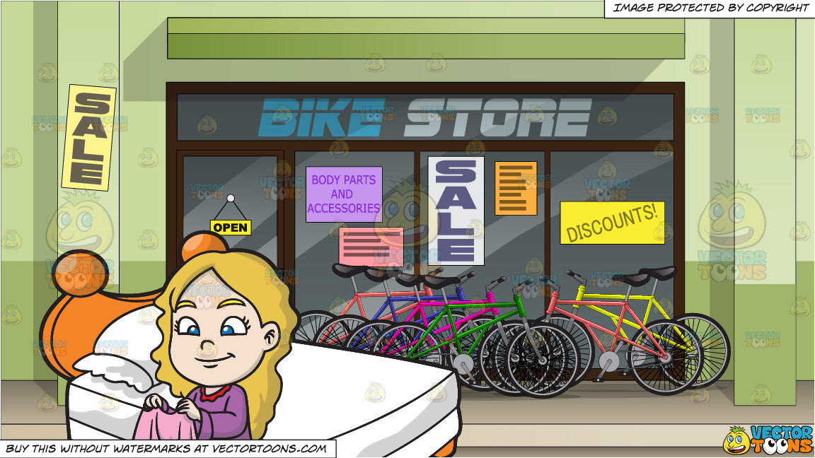 A Young Girl Folding Her Blanket and Exterior Of A Bike Shop Background