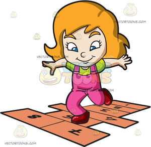 A Young Girl Playing Hopscotch