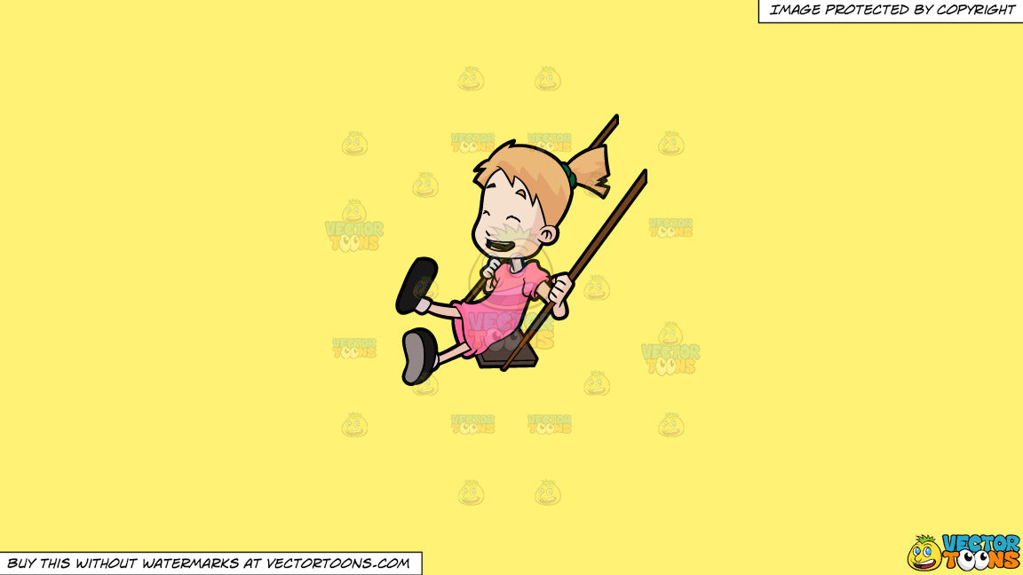 Clipart: A Young Girl Rides The Playground Swing In Glee on a Solid Sunny  Yellow Fff275 Background