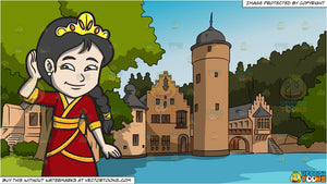 A Young Oriental Princess and Countryside Castle Background