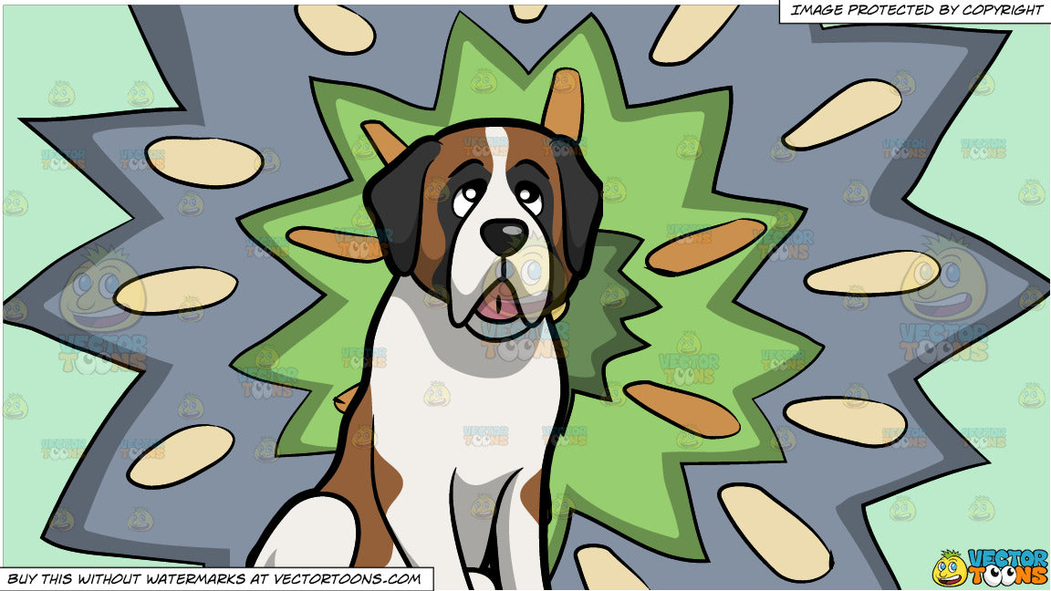 A Young St Bernard Pet Dog and A Psychedelic Polygonal Blast Background