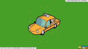 Clipart: A Young Woman Inside A Taxi Cab on a Solid Kelly Green 47A025  Background