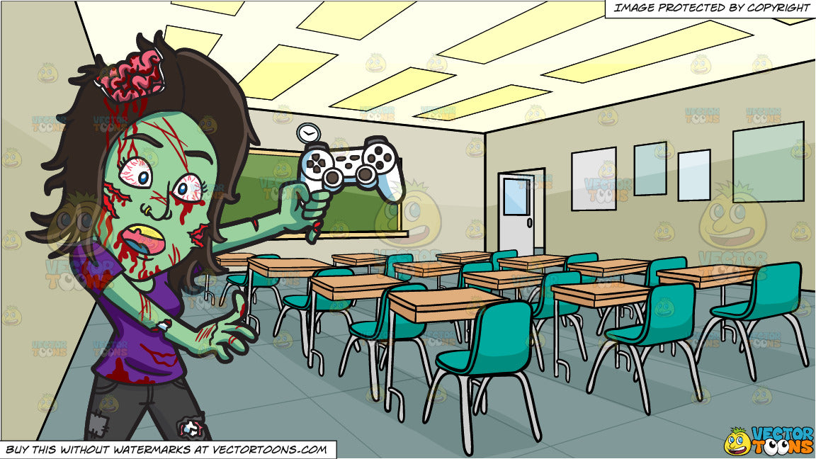 A Zombie Playing A Video Game And Inside A High School Classroom Background