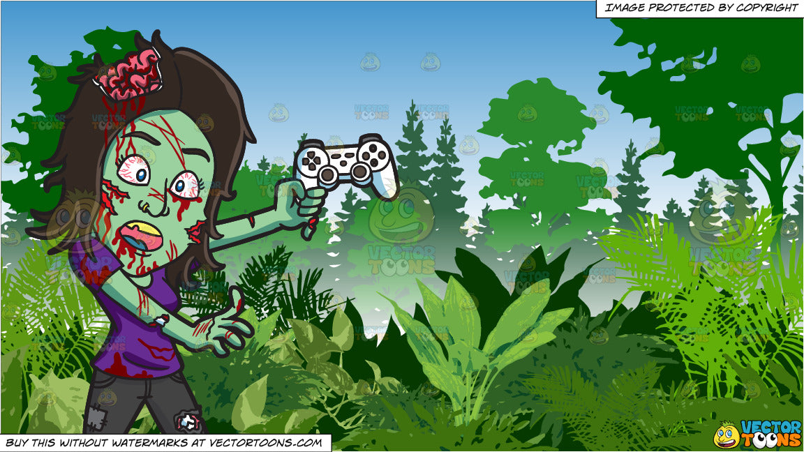 A Zombie Playing A Video Game And Lush Green Jungle Background