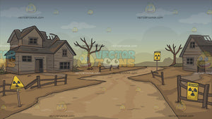 Abandoned Radioactive Small Town Background