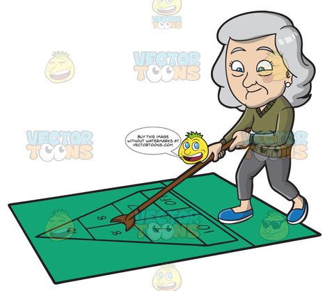 An Old Woman Playing Shuffleboard