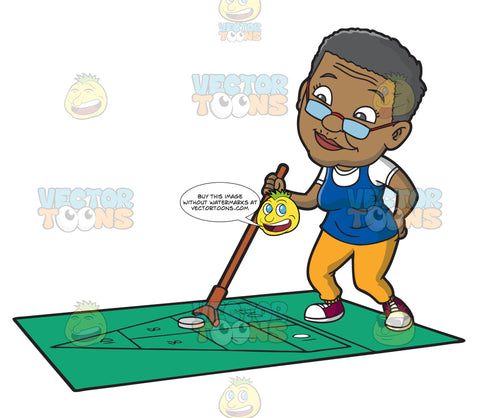 An Old Black Woman Playing Shuffleboard