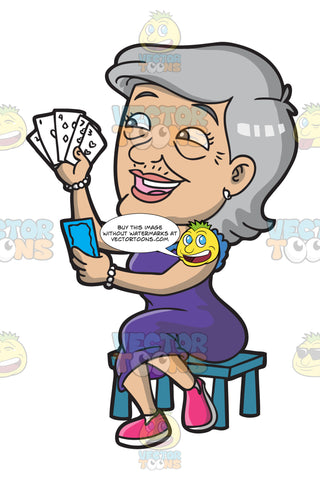 A Happy Old Lady Playing Cards