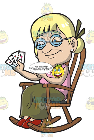 An Old Lady Playing Cards