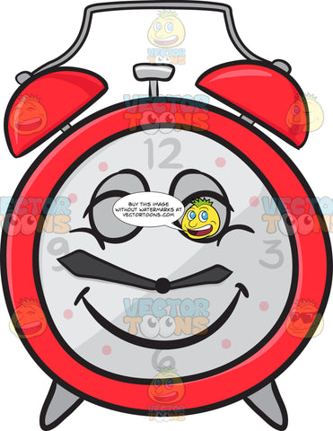 Alarm Clock With Beaming Look On Face Emoji