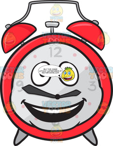Alarm Clock With Bright Look On Face Emoji