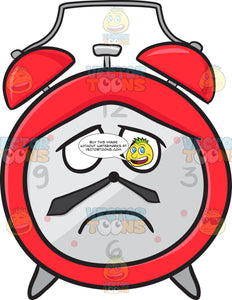 Alarm Clock With Depressed Look On Face Emoji