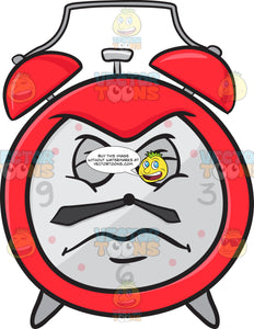 Alarm Clock With Disgusted Look On Face Emoji