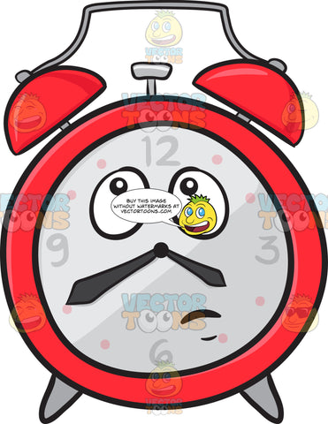 Alarm Clock With Wondering Look On Face Emoji