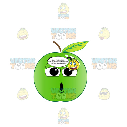 Alarmed And Stunned Green Apple Emoji