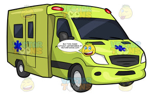 A Bright Yellow Box Ambulance. A bright yellow box truck ambulance with a blue emergency medical technician symbol on the front and side of the vehicle