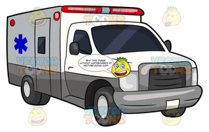 A Box Ambulance. A white box ambulance vehicle with a blue emergency medical technician symbol on the side and red lights on the roof