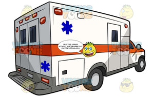 A North American Ambulance. A white box truck ambulance with two doors in the rear, a door on the side, an orange stripe wrapping around the vehicle and a blue emergency medical technician symbol on the side and back