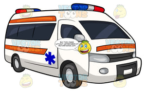 An Emergency Service Vehicle. A white van with orange stripes on the side and front, a blue emergency medical technician symbol on the side and red, blue and white lights on top