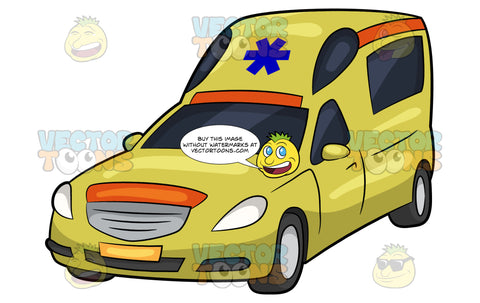 A Yellow Private Ambulance. A yellow vehicle with a blue emergency medical technician symbol above the windshield