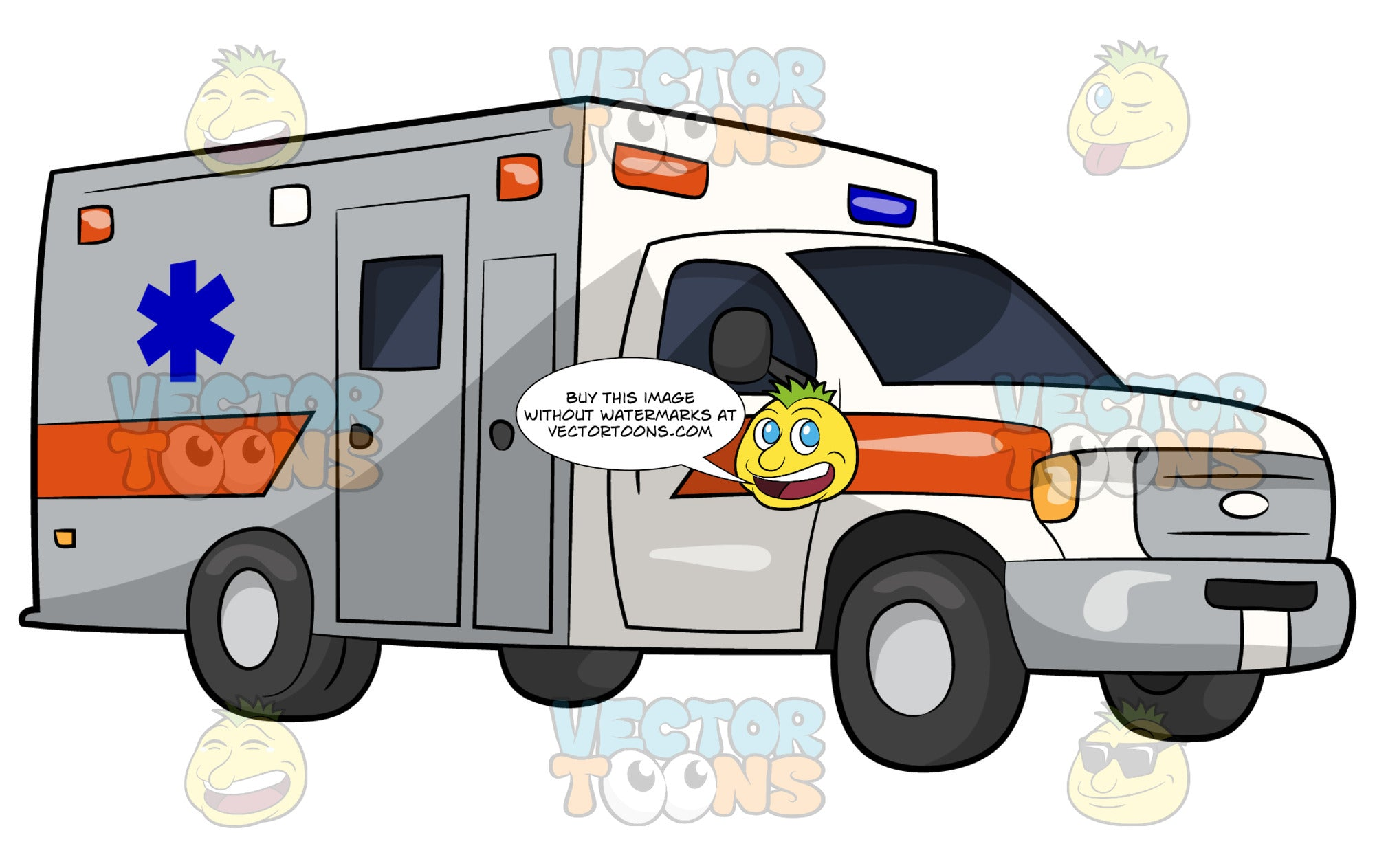 A Modern Ambulance. A white emergency service vehicle with two doors on the side, a blue emergency medical technician symbol on the side, orange stripes on the side and blue, orange and white lights on the front and side