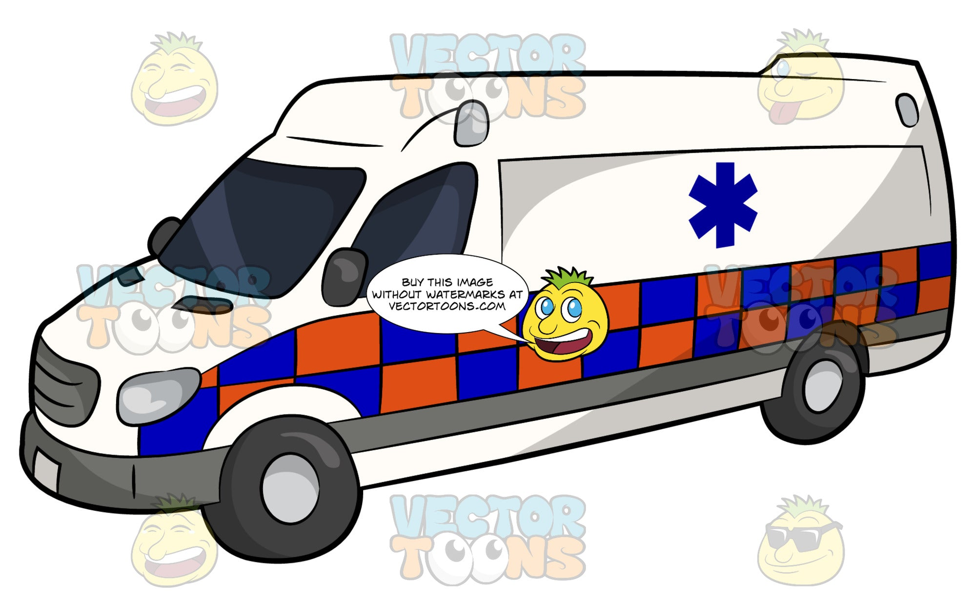 Private Ambulance Service Vehicle. A white van with blue and orange checkered lower half, and blue emergency medical technician symbol on the side.