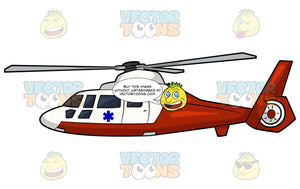 An Air Ambulance. A red and white air ambulance helicopter with a blue emergency medical technician symbol on the side