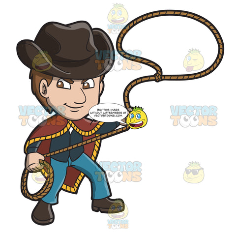 An American Old West Man Twirling A Rope