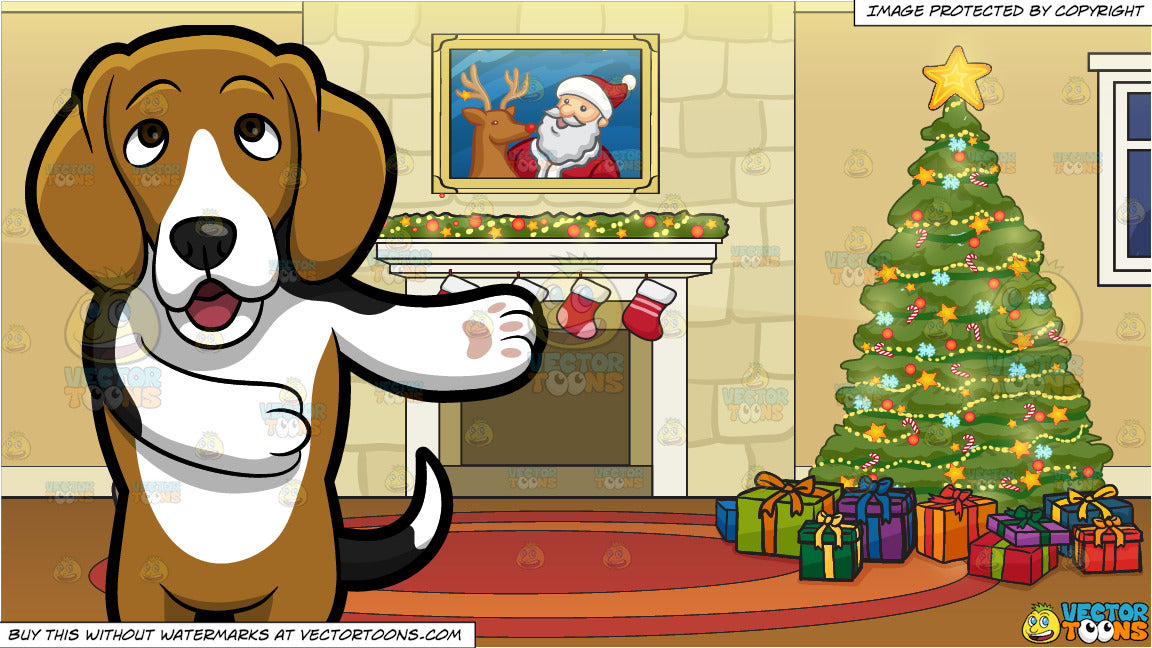 Christmas Beagle Clipart.An Adorable Beagle Making A Point And A Fireplace Beside A Christmas Tree Background