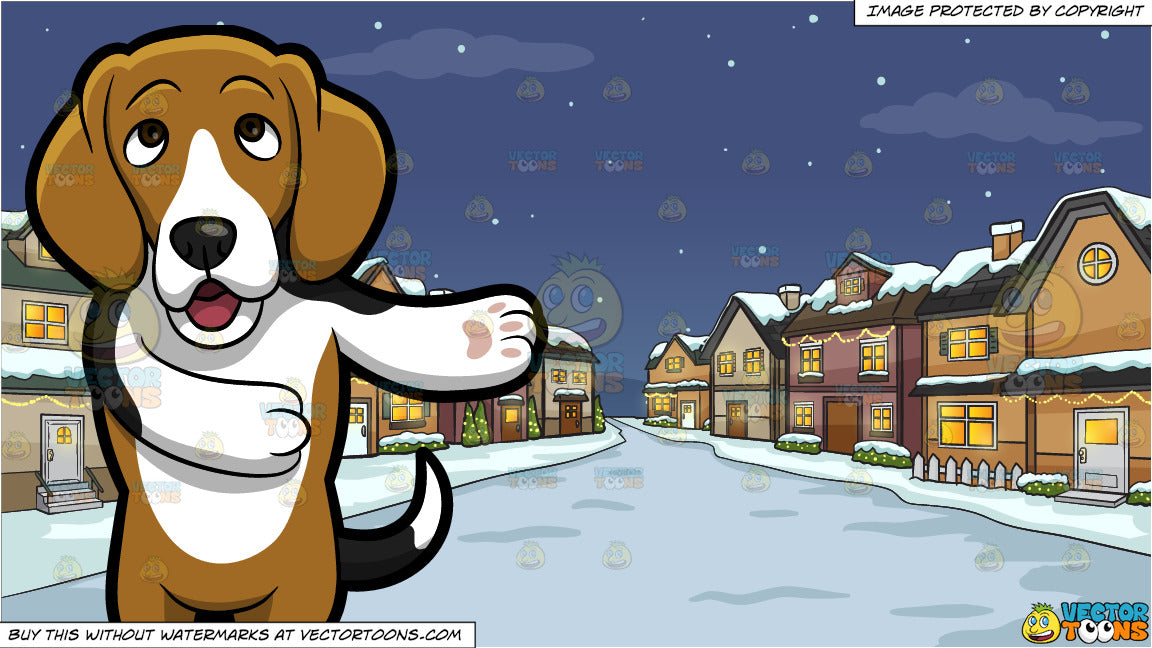 Christmas Beagle Clipart.An Adorable Beagle Making A Point And Snowy Christmas Night Background