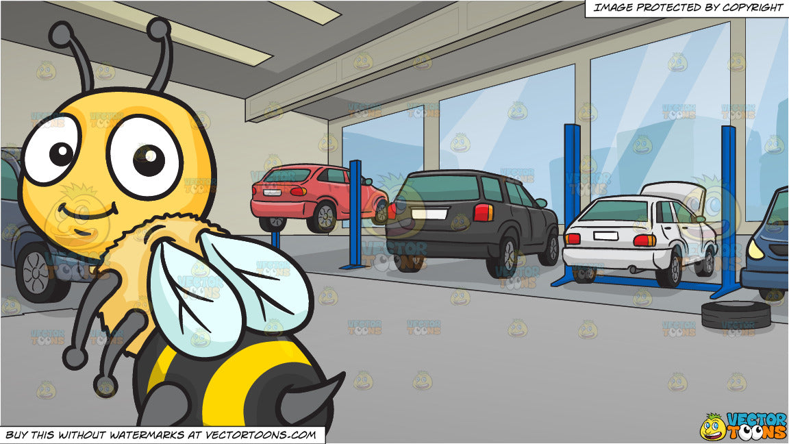 An Adorable Bee Showing Its Stinger Tail and A Modern Car Service Centre  Background