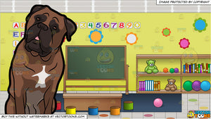 An Adorable Bull Mastiff Pet Dog and Inside A Preschool Classroom Background