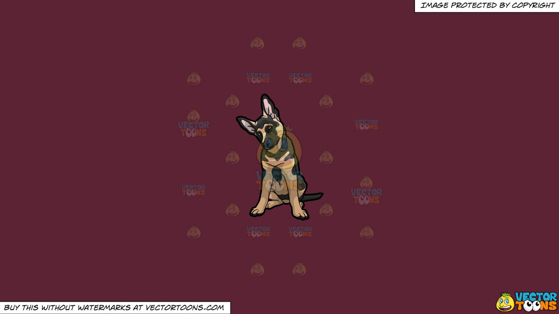 Clipart: An Adorable German Shepherd Puppy on a Solid Red Wine 5B2333  Background