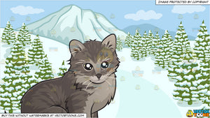 An Adorable Little Kitten and A Snowy Landscape Background