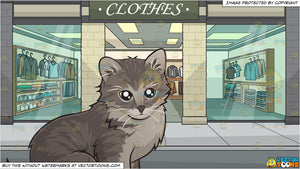 An Adorable Little Kitten and Outside A Menswear Shop Background