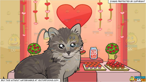 An Adorable Little Kitten and Valentines Day Buffet Background