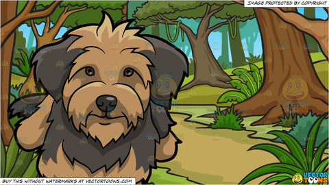 An Adorable Yorkipoo Dog and A Lush Jungle Background