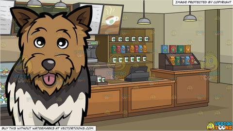 An Adorable Yorkshire Terrier and The Interior Of A Coffee Shop Background