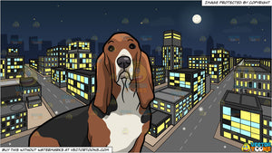 An Alerted Basset Hound Pet Dog and A City During A Lovely Night Background
