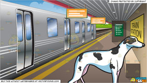 An Alerted Greyhound and Platform At Train Station Background