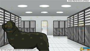 An Alerted Newfoundland Dog and Inside A Server Room At A Data Center Background