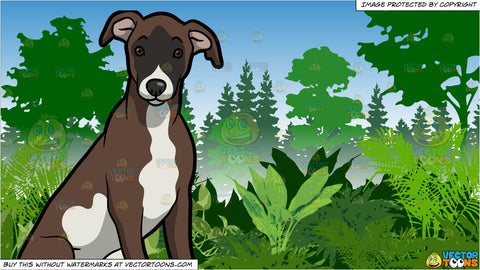 An Alerted Whippet Puppy and Lush Green Jungle Background