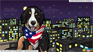 An American Patriotic Dog and A View Of The City From A Top Of A Building At Night Background