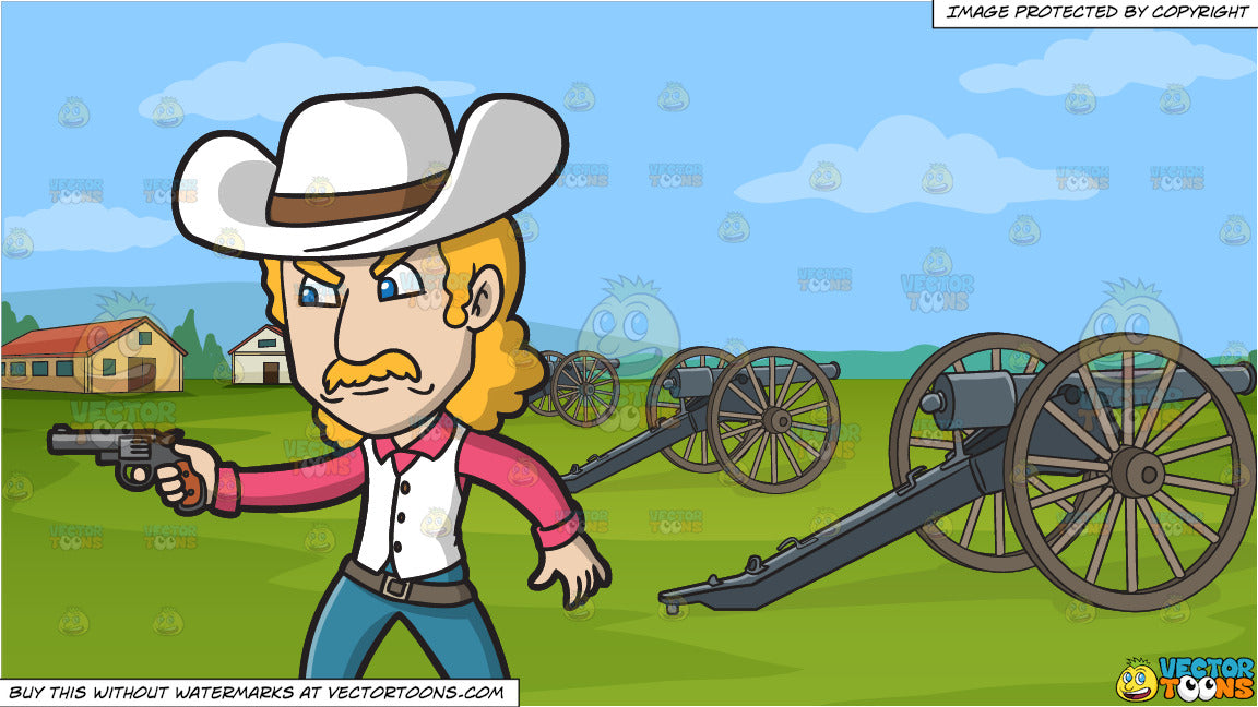 An Angry Cowboy Pointing A Pistol and Revolutionary War Reenactment  Background