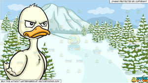 An Angry Duck and A Snowy Landscape Background