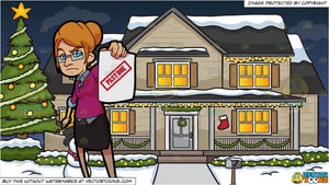 An Angry Lady Bill Collector and A House Decorated For The Christmas Season Background