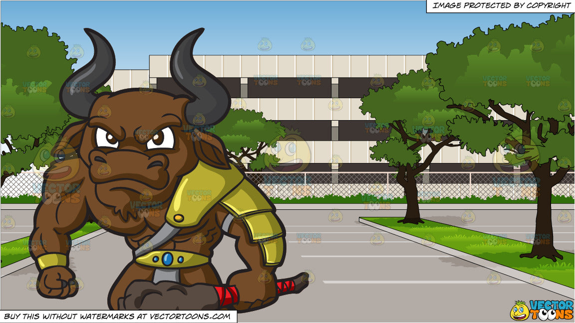 An Angry Minotaur and Empty Parking Lot Of An Office Building Background