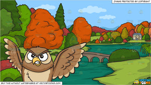 An angry night owl and A River During Autumn Background