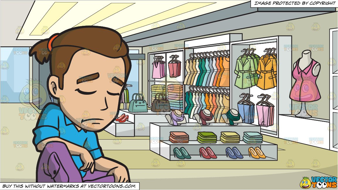 An Artsy Man Looking Sad And Depressed and A Clothing Store For Women  Background