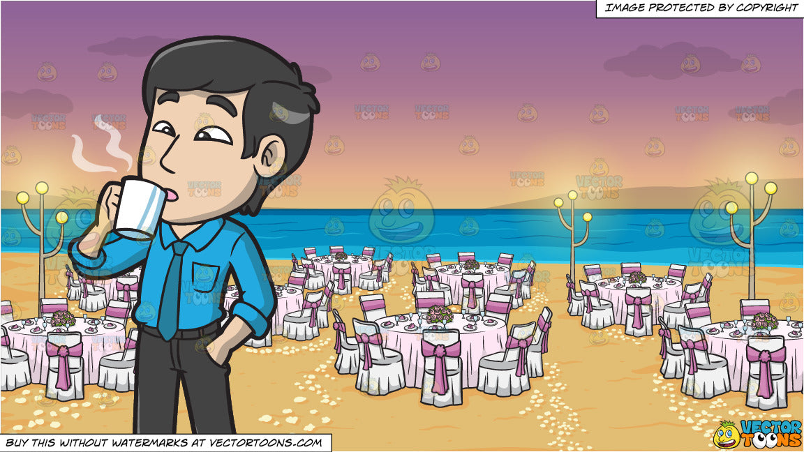 An Asian Guy Drinking A Cup Of Coffee and A Beach Wedding Reception  Background